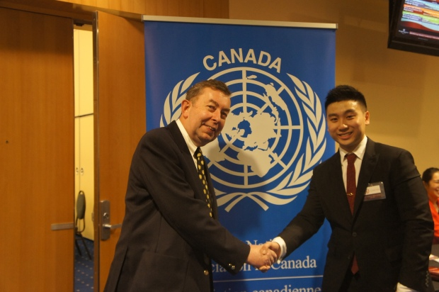 UNAC-Vancouver Vice-President George Somerwill at CAHSMUN opening with Deputy Secretary General Jotham Chow